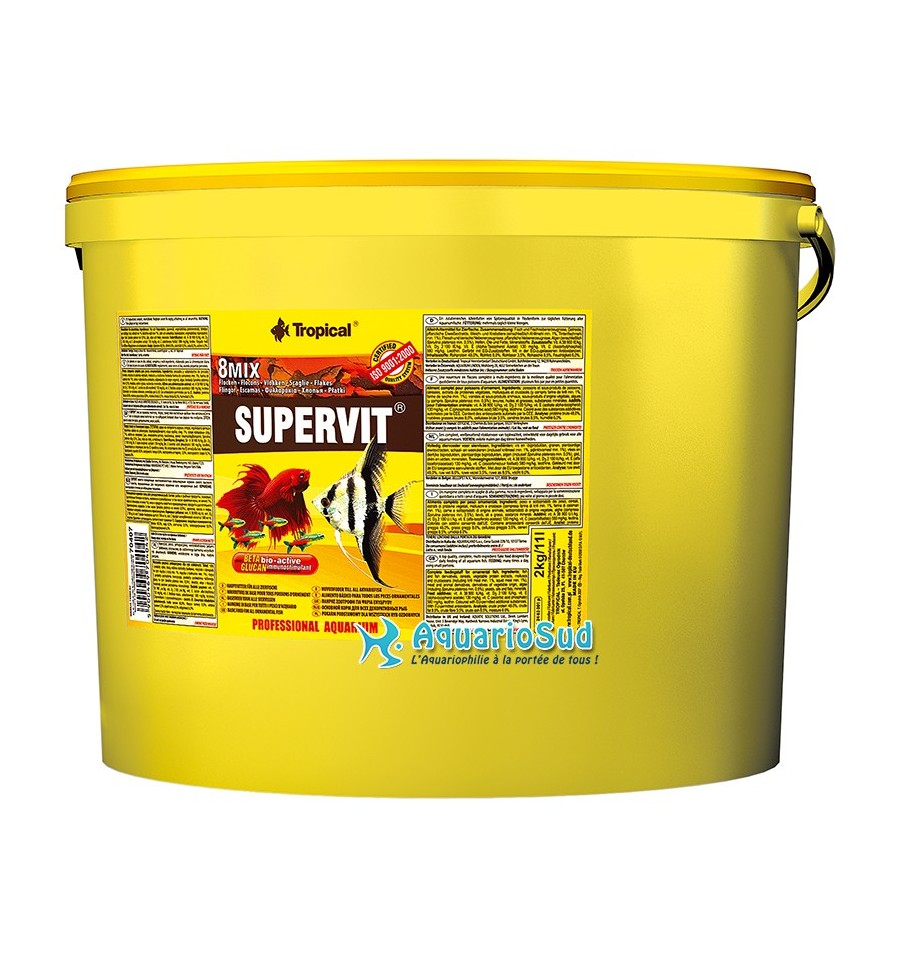 Tropical supervit 11 litres nourriture en flocons for Tropical nourriture poisson