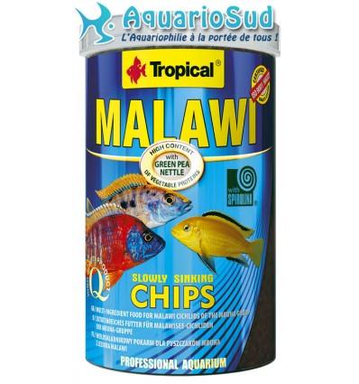 TROPICAL Malawi chips - 1000ml est une nourriture sous forme de petites Chips pour cichlidés Malawi et Autres cichlidés herbivor