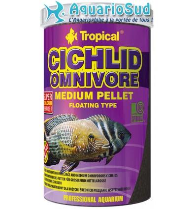 TROPICAL Cichlid Omnivore Medium Pellet en10 litres pour l'alimentation quotidienne des cichlidés omnivoires.