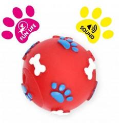 DOG LIFE STYLE Balle sonore en vinyl, Ø 6cm, rouge