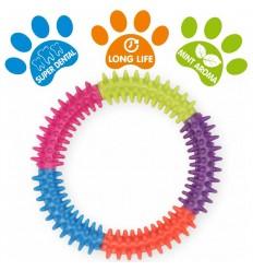 DOG LIFE STYLE Anneau dentaire multicolore Ø 15cm - Arôme menthe
