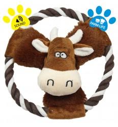 DOG LIFE STYLE Peluche vache grinçante sur corde 20cm
