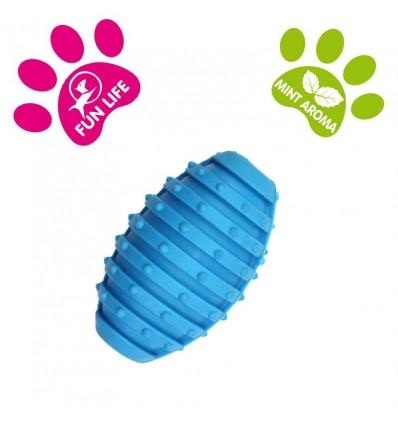 DOG LIFE STYLE Ballon de Rugby 10cm - Arôme menthe