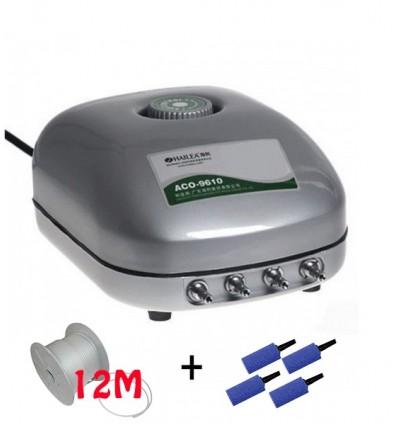 Pack Pompe à air 600 l/h avec 4 sorties + tuyau (12m) +  4 diffuseurs cylindriques